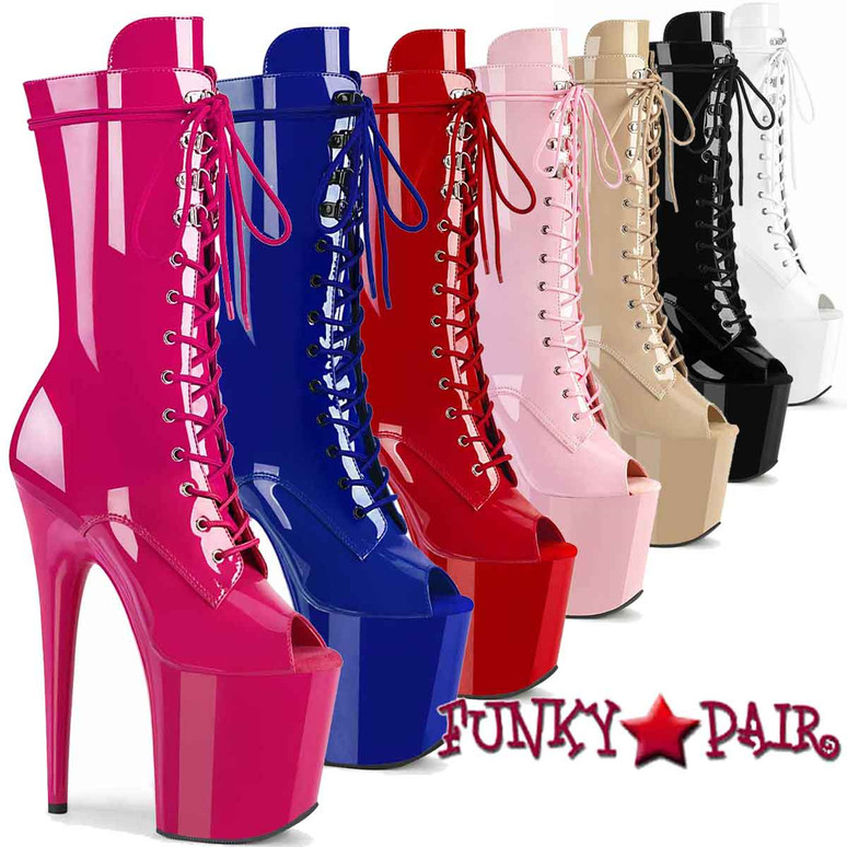 "Pleaser   Flamingo-1051, 8"" Peep Toe Mid Calf Lace-up Boots"