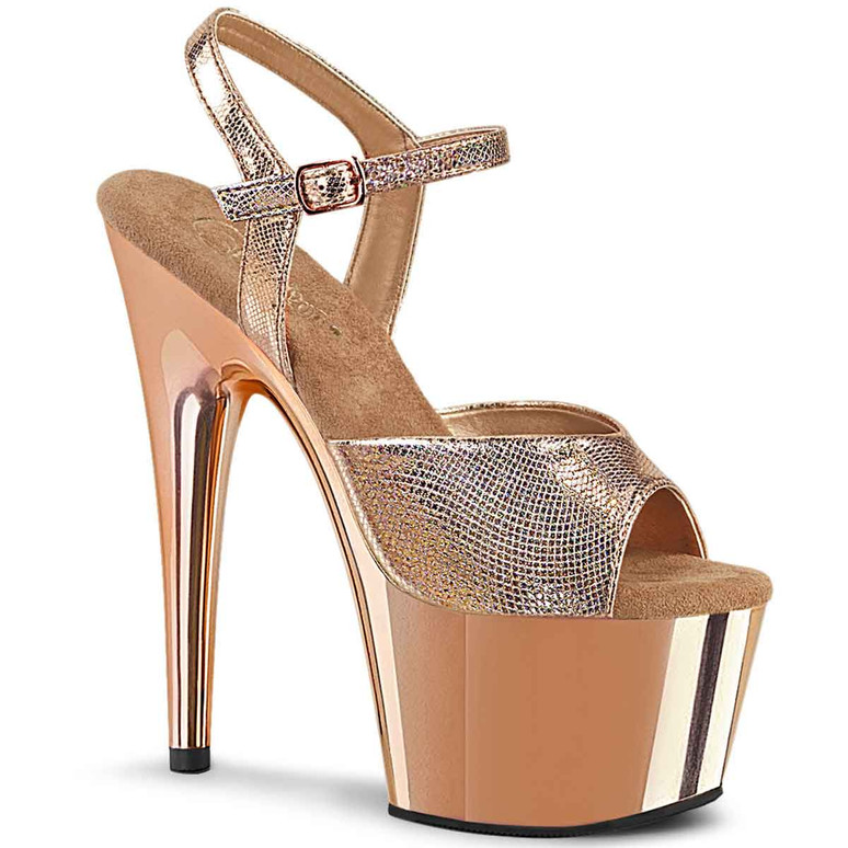 """Adore-709RG, 7"""" Ankle Strap Sandal with Rose Gold Plated Platform by Pleaser"""