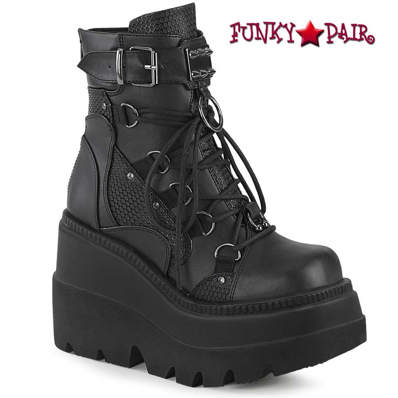 Shaker-60 Black Gothic Wedge Dual Buckle Ankle Boots by Demonia