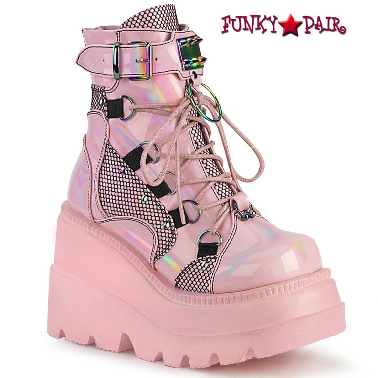 Shaker-60 Pink Gothic Wedge Dual Buckle Ankle Boots by Demonia