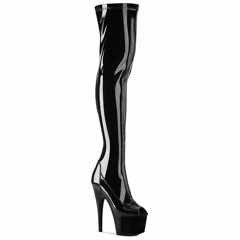 Adore-3011, Peep-Toe Stretch Thigh High Boots by Pleaser