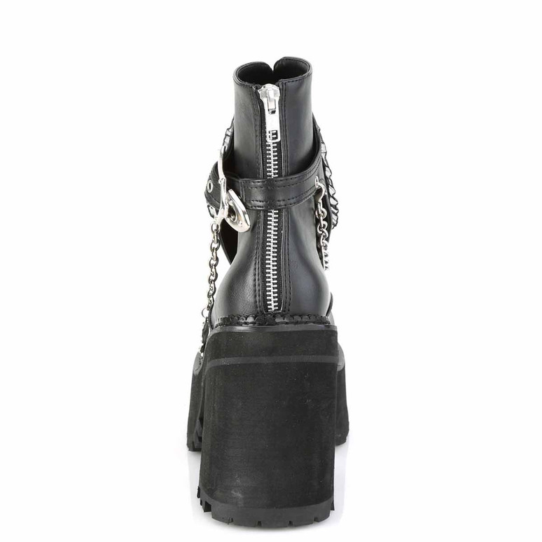 Assault-55, Platform Ankle Boots with Hanging Chain Back View by Demonia