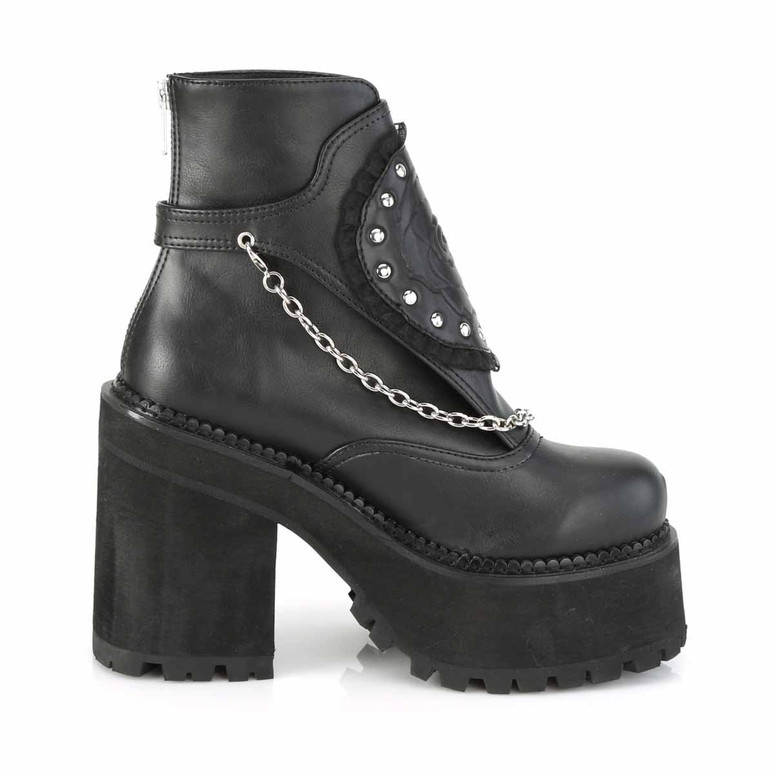 Assault-55, Side View Platform Ankle Boots with Hanging Chain by Demonia