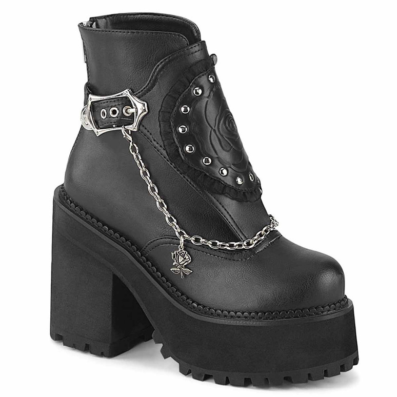 Assault-55, Platform Ankle Boots with Hanging Chain by Demonia