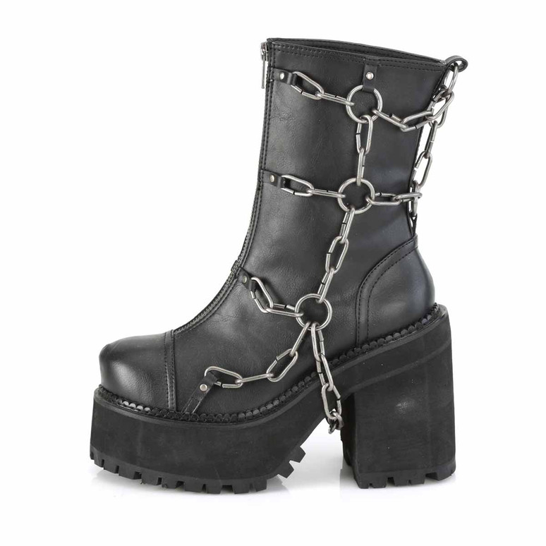 Assault-66, Side View Cleated Platform Ankle Boots by Demonia