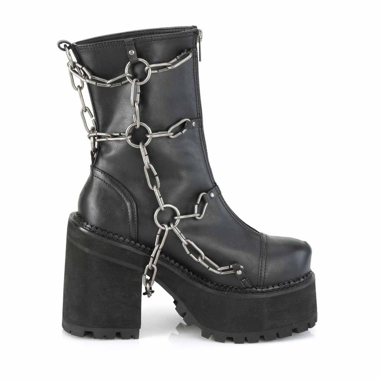 Assault-66, Cleated Platform Ankle Boots Inner Side View by Demonia