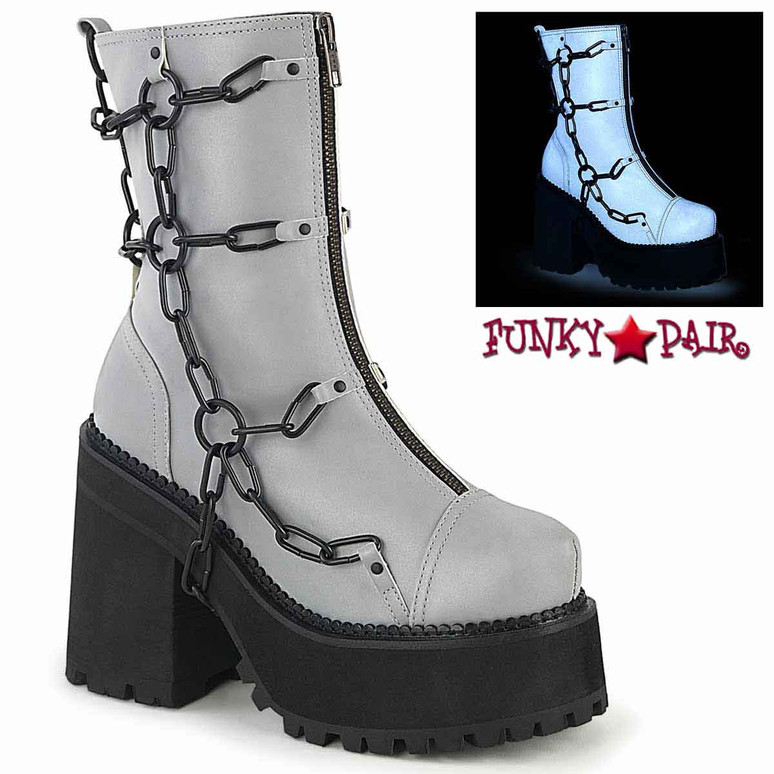 Assault-66, Cleated Grey Platform Ankle Boots by Demonia