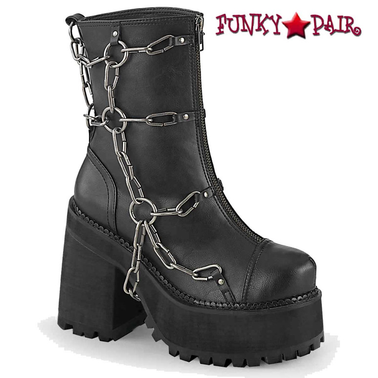 Assault-66, Cleated Black Vegan Leather Platform Ankle Boots by Demonia