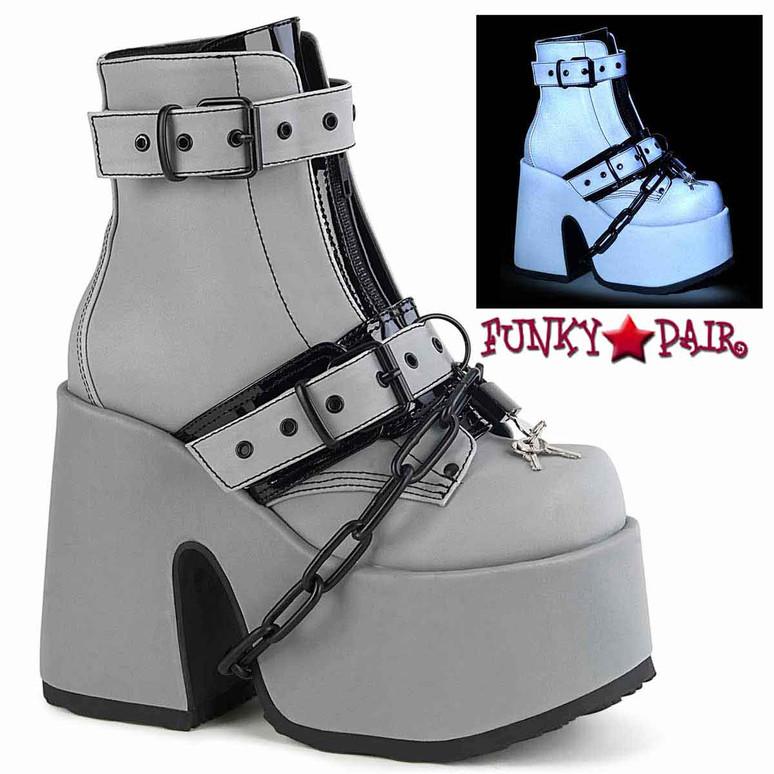 Demonia | Camel-205, Grey Chunky Platform with Draped Thick Metal Chain