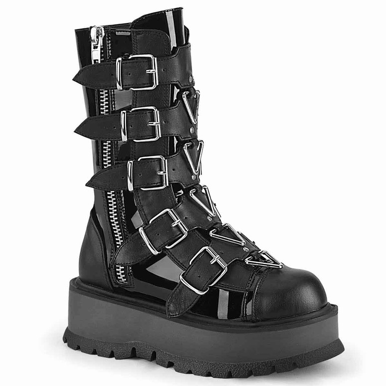 Slacker-160, Mid-Calf Boots with Metal Buckles Straps by Demonia