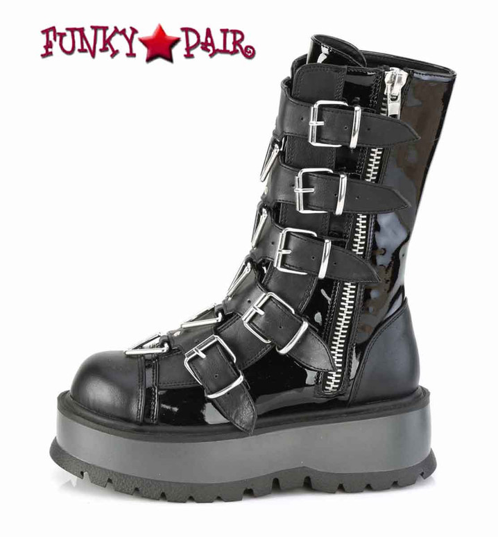Slacker-160, Mid-Calf Boots with Metal Buckles Straps Side View by Demonia