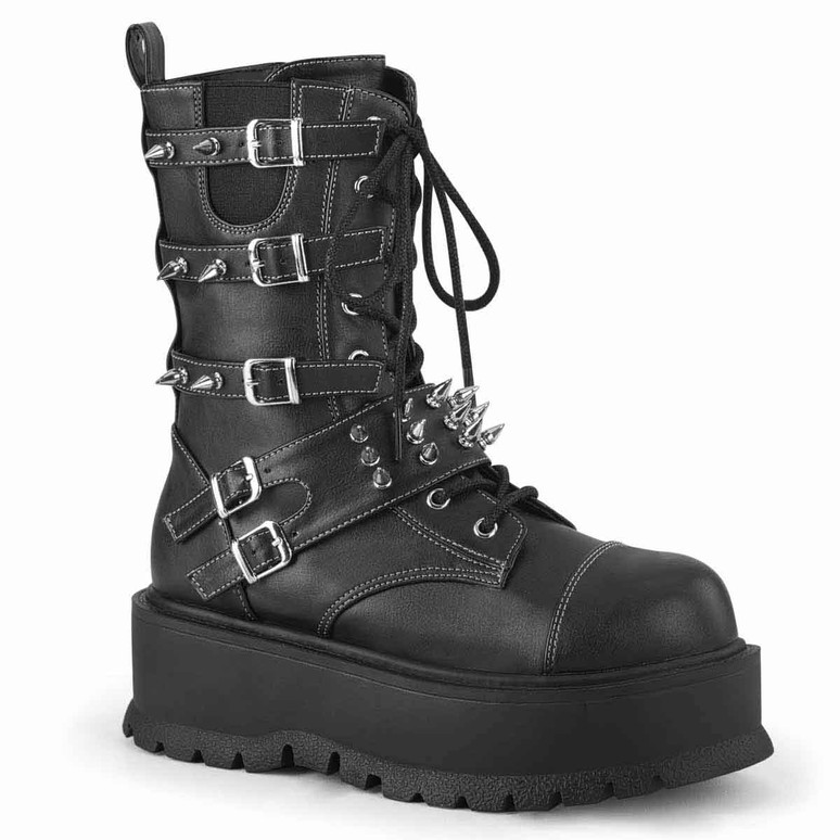 Slacker-165, Mid-Calf Boots with Metal Spikes by Demonia