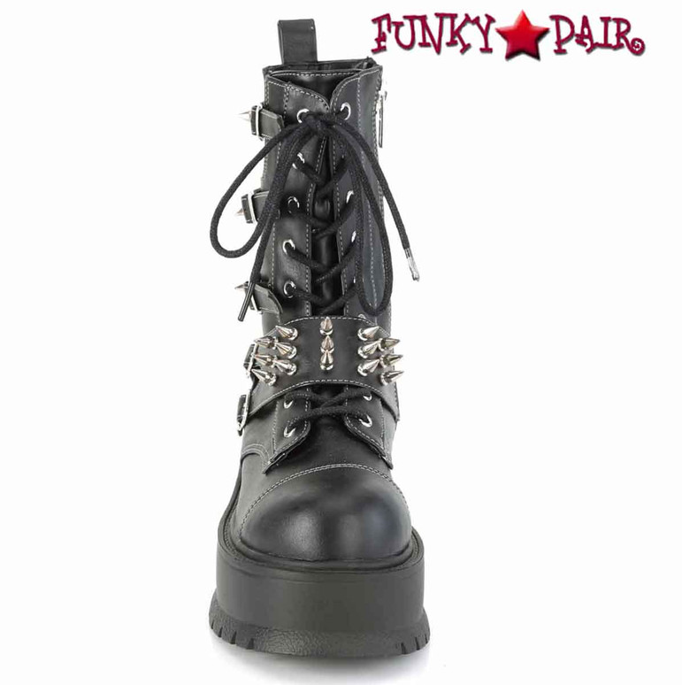 Slacker-165, Front View Mid-Calf Boots with Metal Spikes by Demonia