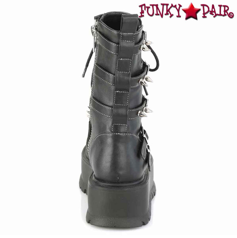 Slacker-165, Back View Mid-Calf Boots with Metal Spikes by Demonia