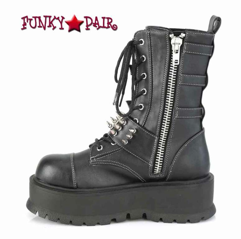 Slacker-165, Zipper Side View Mid-Calf Boots with Metal Spikes by Demonia