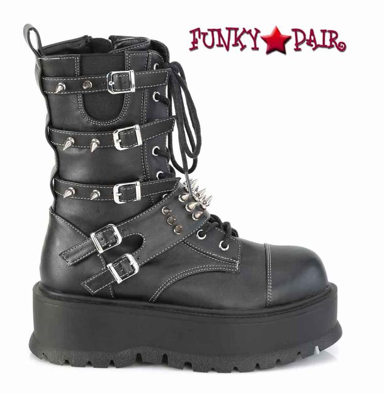 Demonia | Slacker-165, Mid-Calf Boots with Metal Spikes