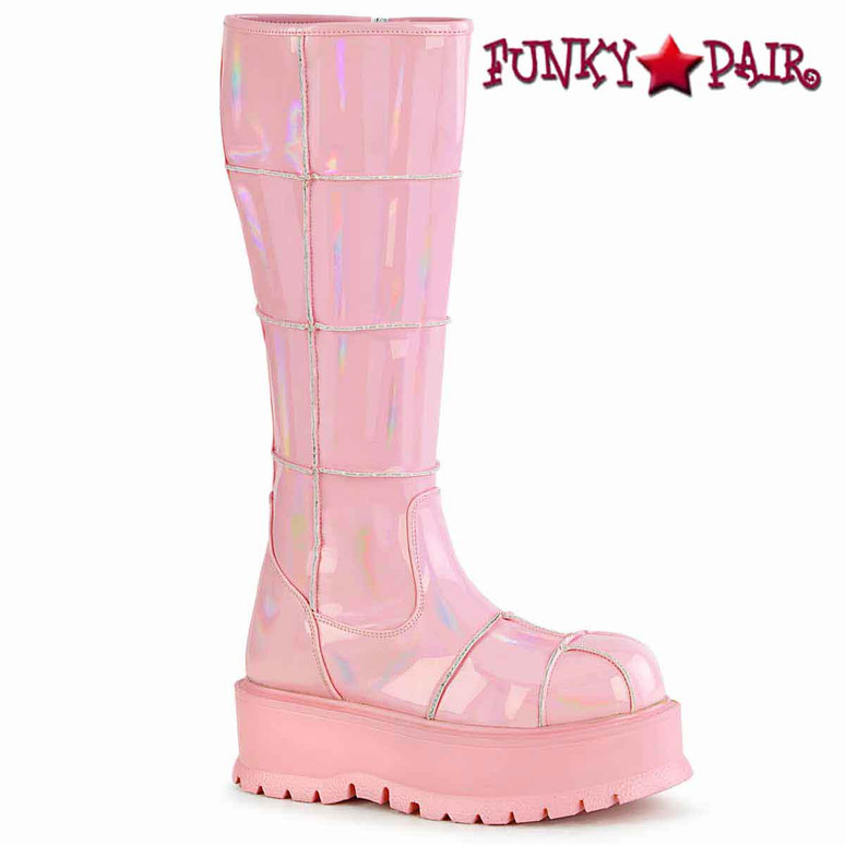 Slacker-230, Baby Pink Knee High Patch Boots by  Demonia