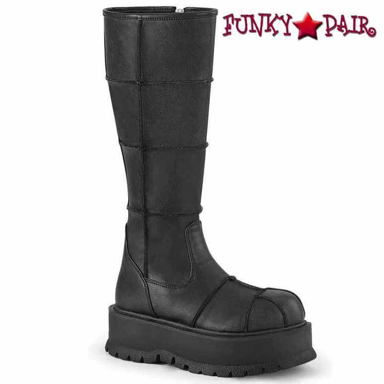 Slacker-230, Black Vegan Leather Knee High Patch Boots by  Demonia