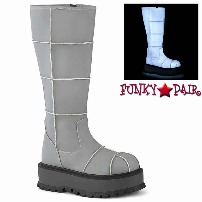 Slacker-230, Grey Reflector Knee High Patch Boots by  Demonia