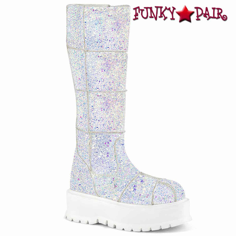 Slacker-230, White Glitter Knee High Patch Boots by  Demonia