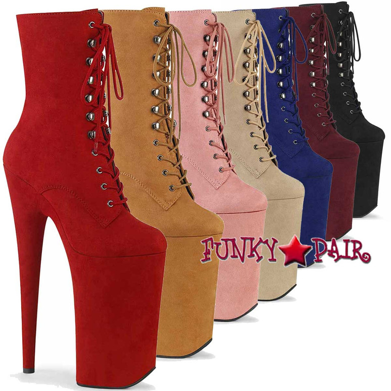 Pleaser   Beyond-1020FS, Lace-up Suede Ankle Boots