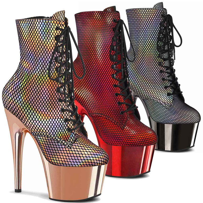 "Adore-1020HFN, 7"" Holographic Fishnet Overlay Ankle Boots by Pleaser"