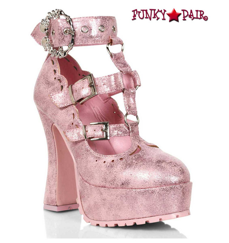 """557-DAPHNE, 5"""" Pink Chunky Heel T-Strap Maryjane By Ellie Shoes"""