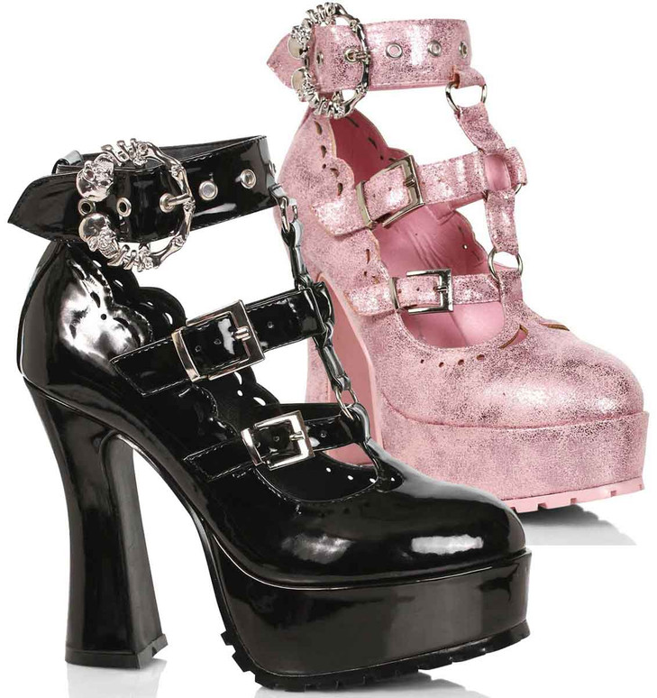 "557-DAPHNE, 5"" Chunky Heel T-Strap Maryjane By Ellie Shoes"