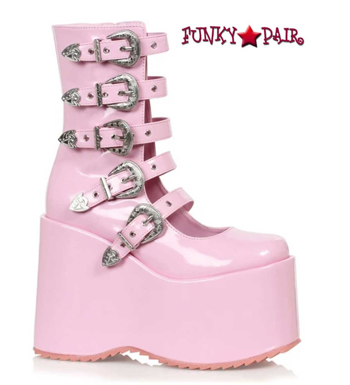 """500-Ash, 5"""" Pink Chunky Platform Mulit Buckles Boots By Ellie Shoes"""