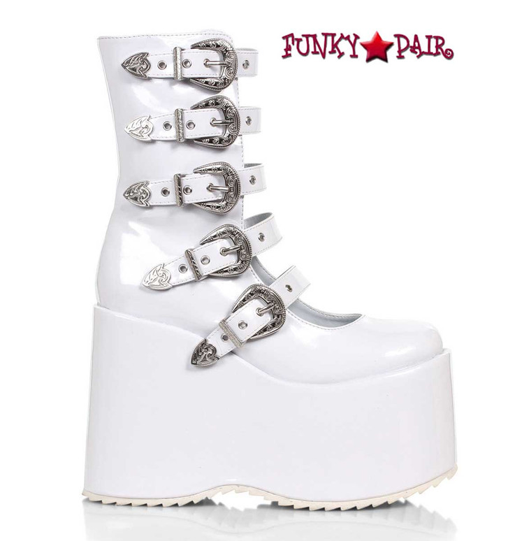 """500-Ash, 5"""" White Chunky Platform Mulit Buckles Boots By Ellie Shoes"""