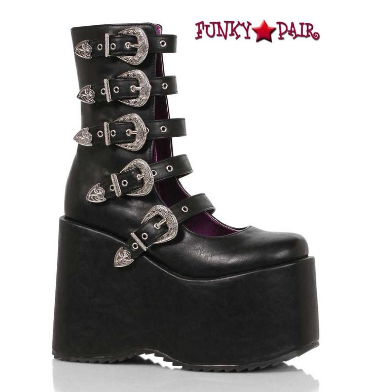 "500-Ash, 5"" Black Chunky Platform Mulit Buckles Boots By Ellie Shoes"