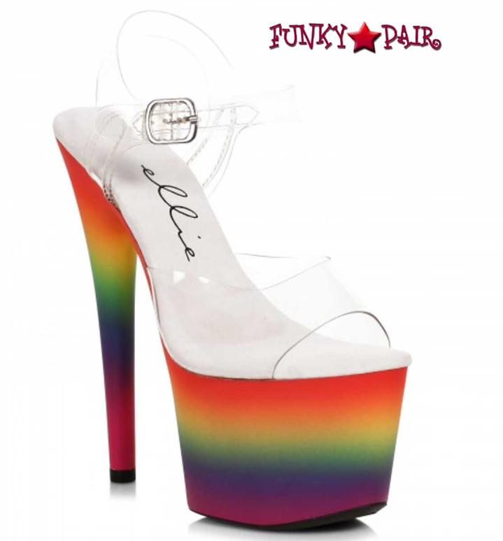 "Ellie Shoes 709-Love, 7"" Rainbow Platform Sandal"