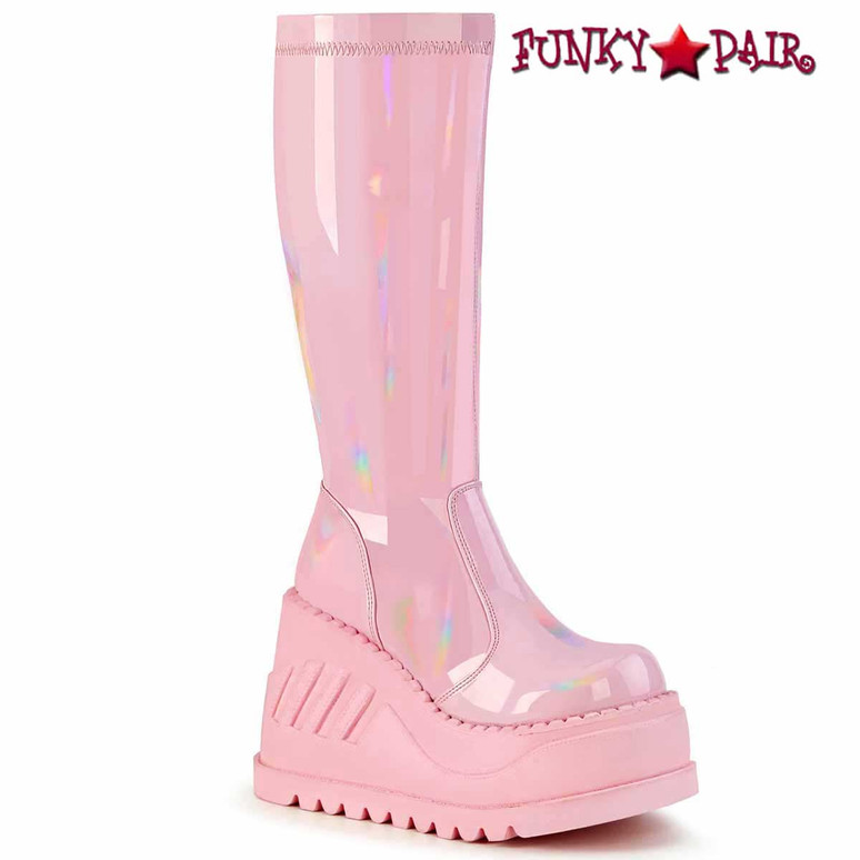 STOMP-200, Baby Pink Wedge Platform Boots by Demonia