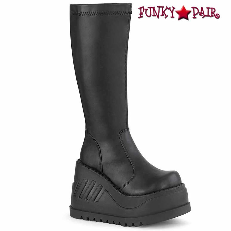 STOMP-200, Black Vegan Leather Wedge Platform Boots by Demonia