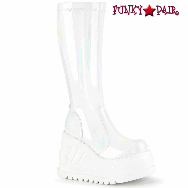 STOMP-200, White Wedge Platform Boots by Demonia