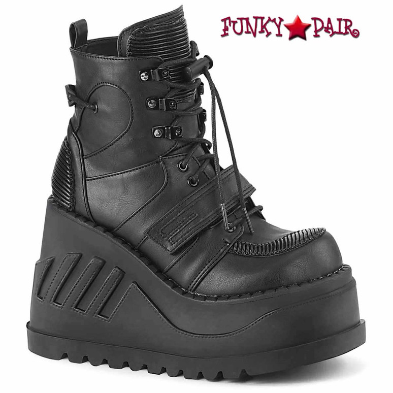 STOMP-13, Black Wedge Lace-up Ankle Boots Vegan Leather by Demonia