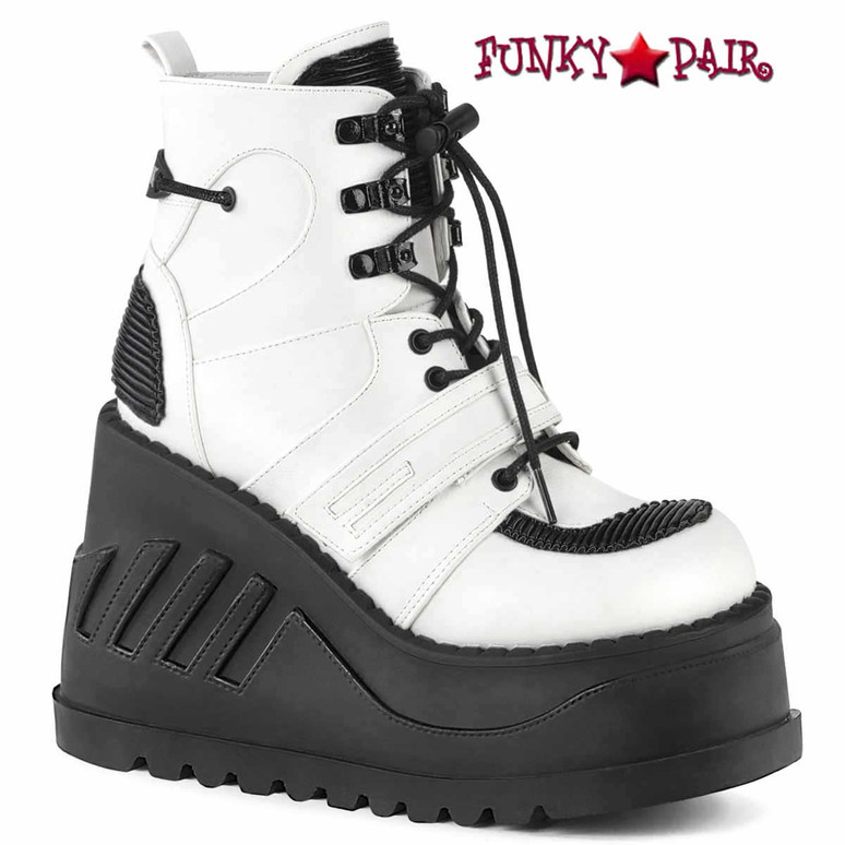 STOMP-13, White Wedge Lace-up Ankle Boots Vegan Leather by Demonia