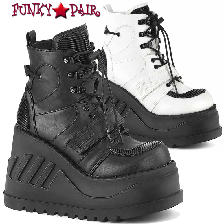 Demonia   STOMP-13, 4.75 Inch Wedge Lace-up Ankle Boots