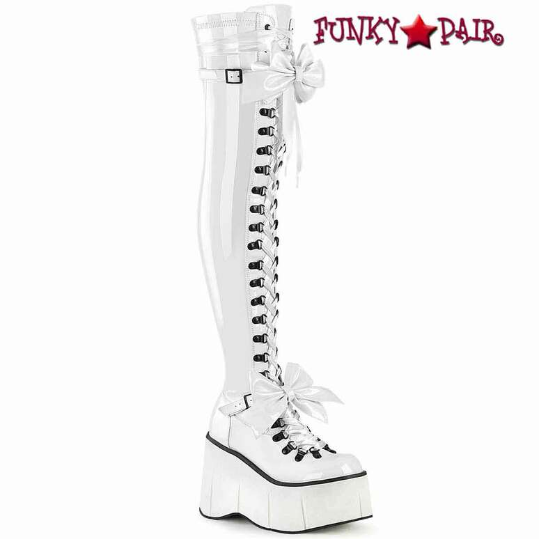 KERA-303, White Thigh High Boots with Bow Accents by Demonia