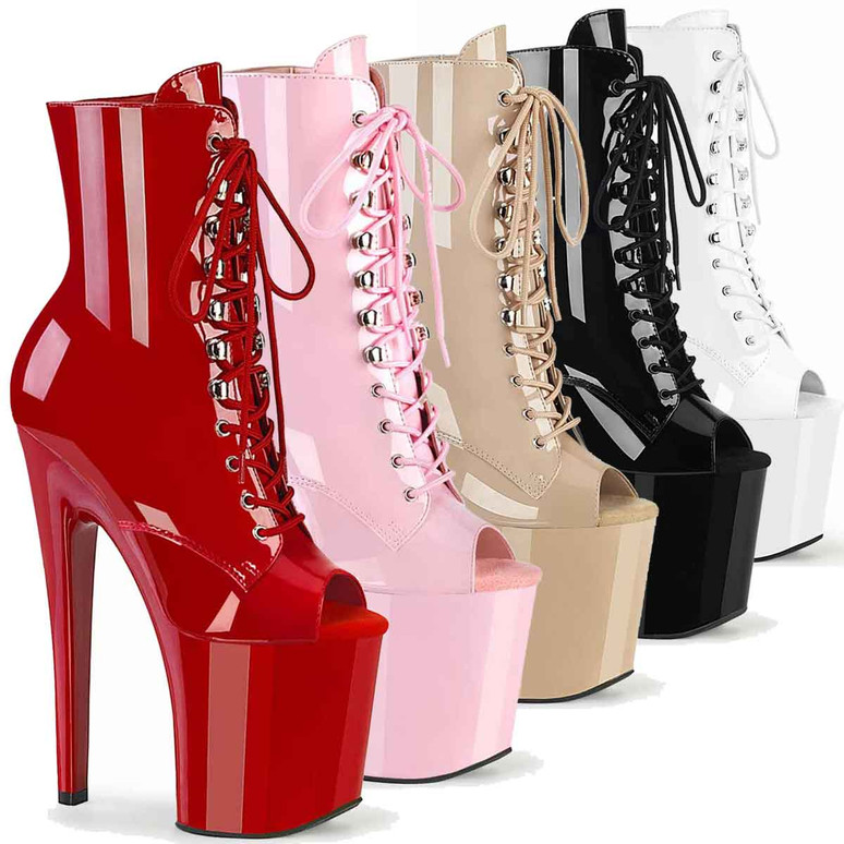 """Xtreme-1021, 8"""" Peep-Toe Lace-up Ankle Boots by Pleaser USA"""