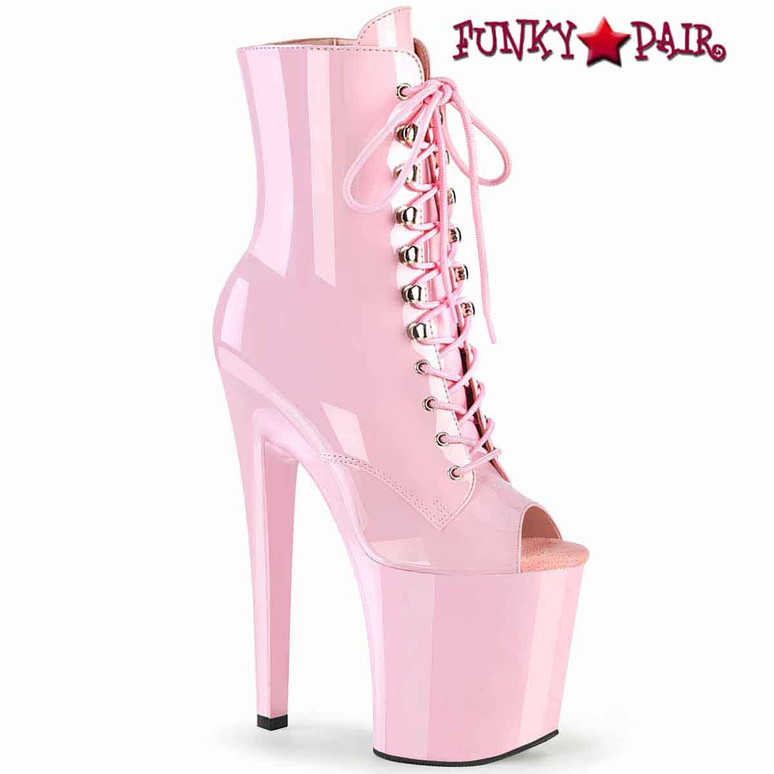 """Xtreme-1021, 8"""" Peep-Toe Lace-up Baby Pink Ankle Boots by Pleaser"""