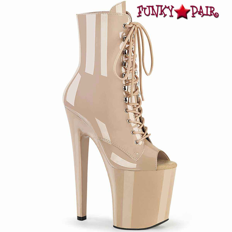 """Xtreme-1021, 8"""" Peep-Toe Lace-up Nude Ankle Boots by Pleaser"""
