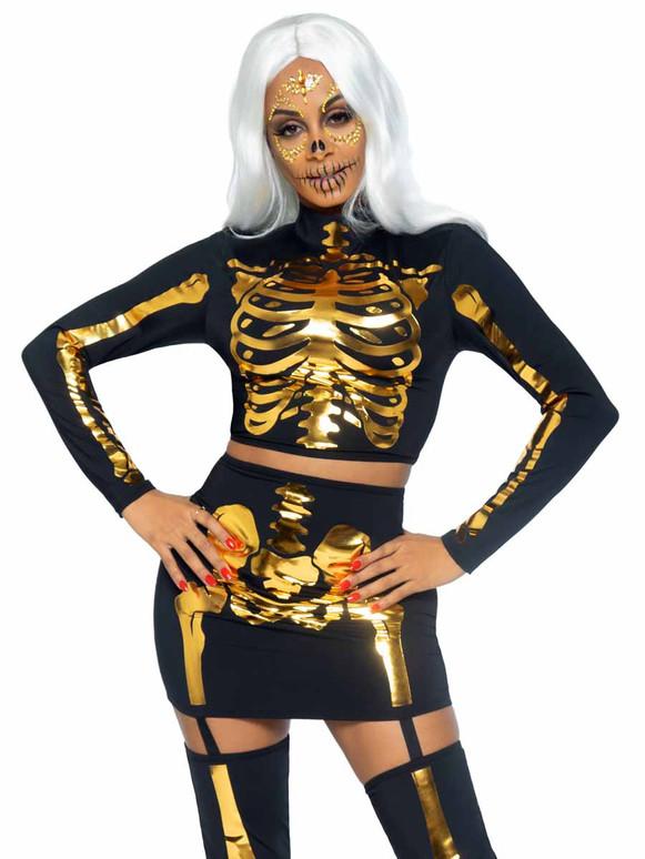 LA87061, Golden Skeleton Set By Leg Avenue