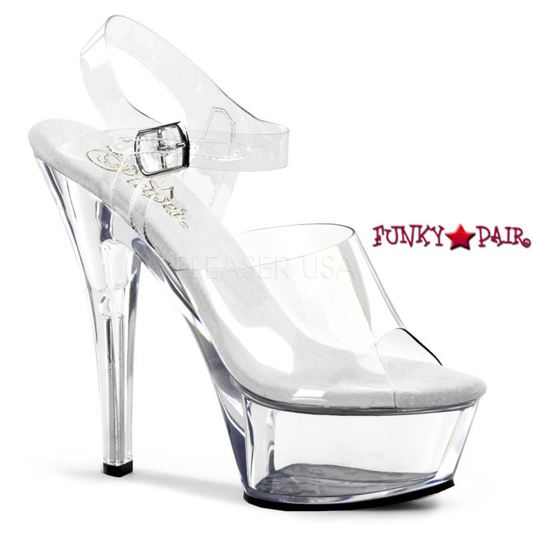 KISS-208, 6 Inch Stiletto Heel Shoes clear