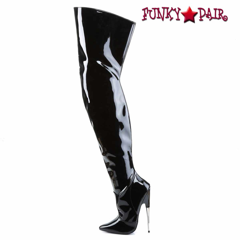 Fetish Thigh High Boots by Devious SCREAM-3010BP Side View