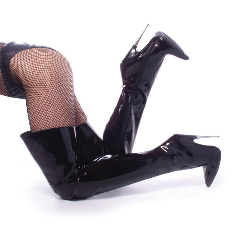 SCREAM-3010BP, Fetish Thigh High Boots by Devious