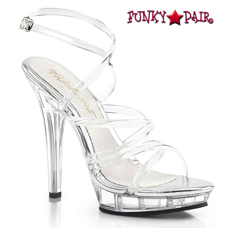 "Fabulicious | LIP-106, 5"" Clear Evening Strappy Sandal Pleaser"
