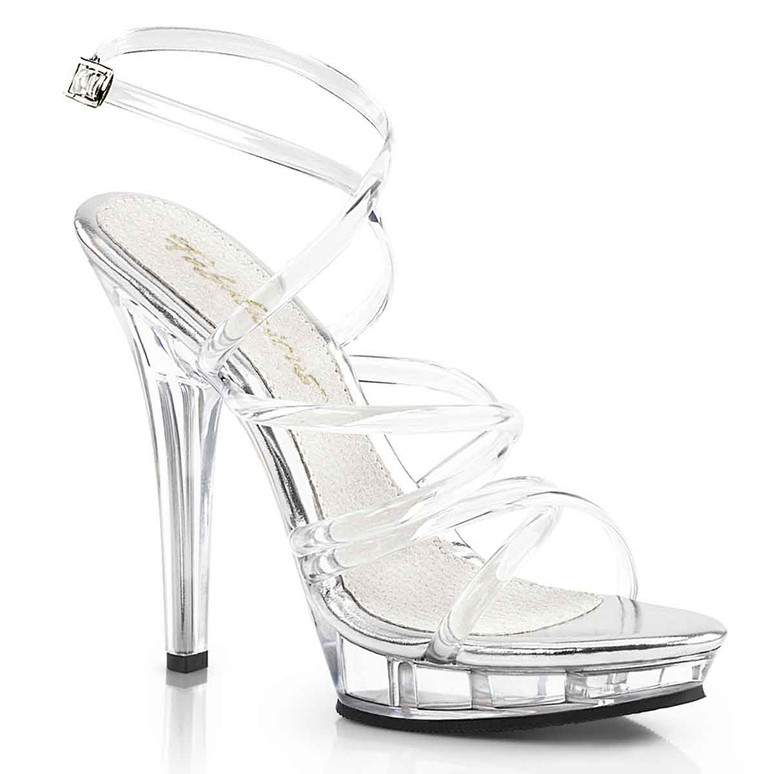 "LIP-106, 5"" Clear Evening Strappy Sandal Pleaser shoes"