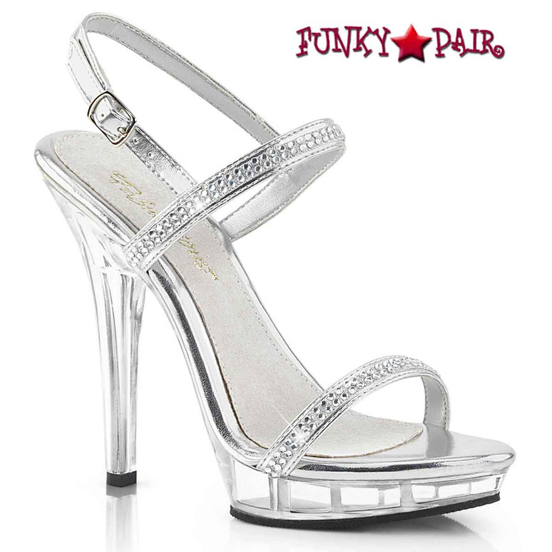 """Pleaser   LIP-117, 5"""" Clear and Mirror Plated Wedding Shoe"""