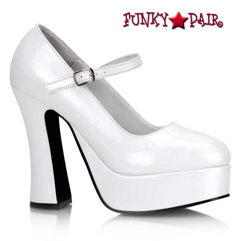 White Mary Janes Gothic Punk Alternative Pumps | DOLLY-50
